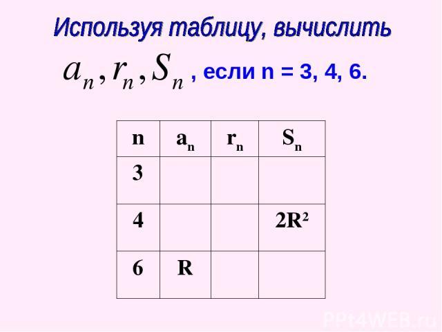 , если n = 3, 4, 6. n an rn Sn 3 4 2R2 6 R