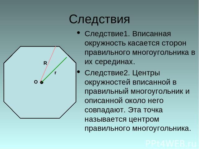 Следствия Следствие1. Вписанная окружность касается сторон правильного многоугольника в их серединах. Следствие2. Центры окружностей вписанной в правильный многоугольник и описанной около него совпадают. Эта точка называется центром правильного мног…