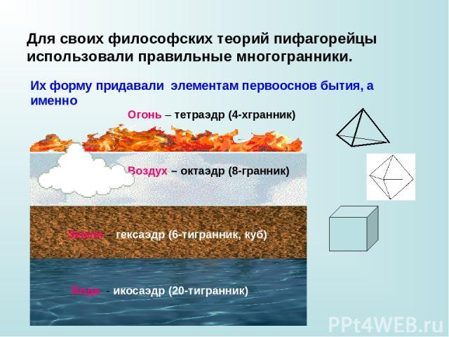Для своих философских теорий пифагорейцы использовали правильные многогранники. Их форму придавали элементам первооснов бытия, а именно Вода - икосаэдр (20-тигранник) Земля – гексаэдр (6-тигранник, куб) Воздух – октаэдр (8-гранник) Огонь – тетраэдр …