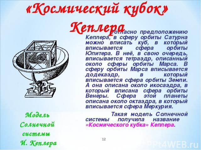 * Согласно предположению Кеплера, в сферу орбиты Сатурна можно вписать куб, в который вписывается сфера орбиты Юпитера. В неё, в свою очередь, вписывается тетраэдр, описанный около сферы орбиты Марса. В сферу орбиты Марса вписывается додекаэдр, в ко…