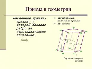 Призма в геометрии Наклонная призма- призма, у которой боковое ребро не перпенди