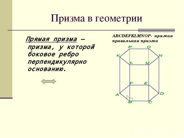 Призма в геометрии Прямая призма— призма, у которой боковое ребро перпендикулярно основанию. ABCDEFKLMNOP- прямая правильная призма
