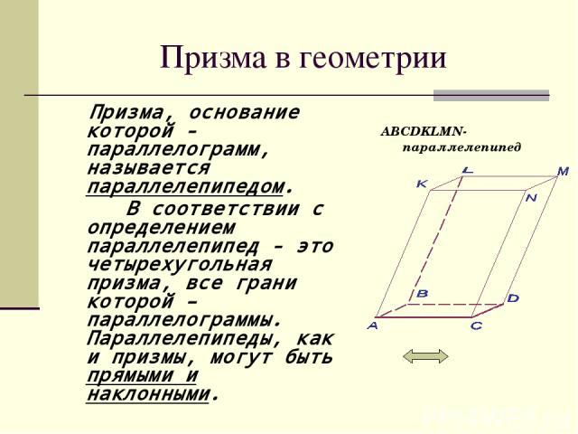 Призма в геометрии Призма, основание которой - параллелограмм, называется параллелепипедом. В соответствии с определением параллелепипед - это четырехугольная призма, все грани которой – параллелограммы. Параллелепипеды, как и призмы, могут быть пря…