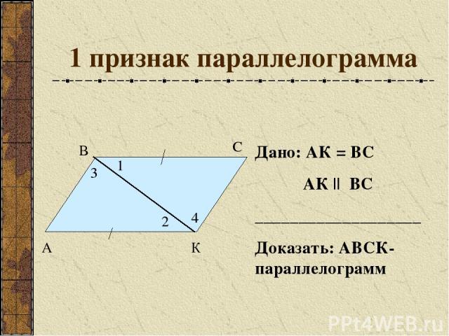 1 признак параллелограмма Дано: АК = ВС АК || ВС ___________________ Доказать: АВСК- параллелограмм А В С К 1 2 3 4