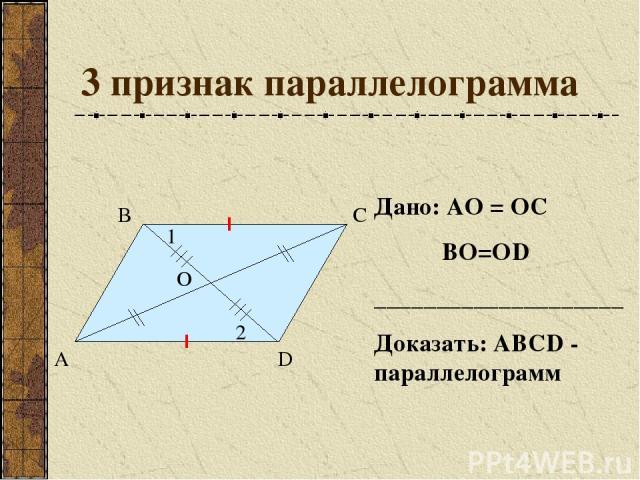 3 признак параллелограмма А В С D О Дано: АО = ОС ВО=ОD ____________________ Доказать: АВСD - параллелограмм 1 2