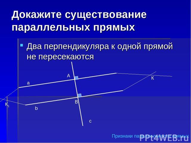 Докажите существование параллельных прямых Два перпендикуляра к одной прямой не пересекаются а b c А В К К1 Признаки параллельности прямых