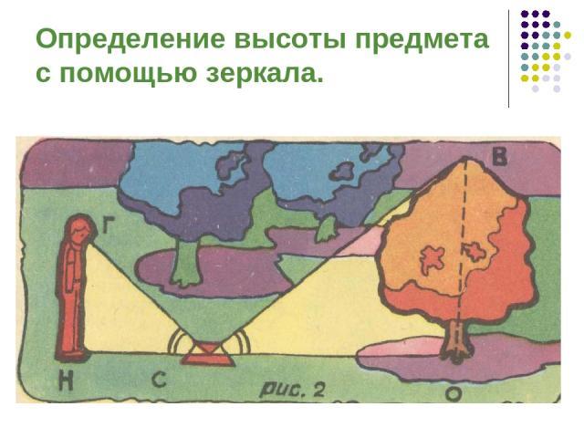 Определение высоты предмета с помощью зеркала.