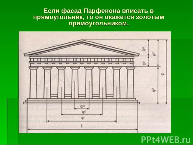 Если фасад Парфенона вписать в прямоугольник, то он окажется золотым прямоугольником.