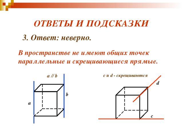 ОТВЕТЫ И ПОДСКАЗКИ с d c и d - скрещиваются 3. Ответ: неверно. В пространстве не имеют общих точек параллельные и скрещивающиеся прямые.
