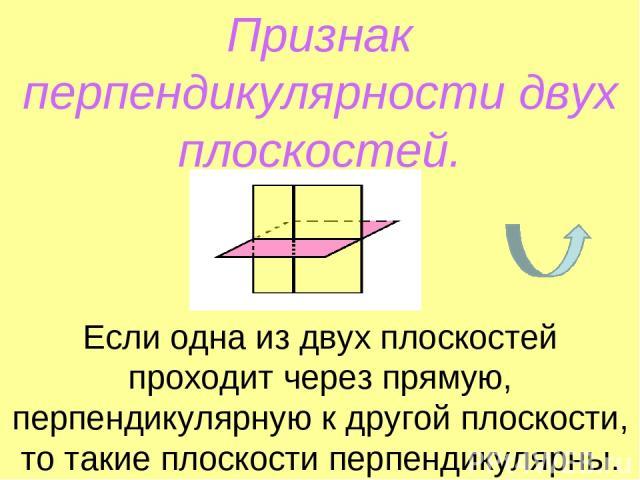 Признак перпендикулярности двух плоскостей. Если одна из двух плоскостей проходит через прямую, перпендикулярную к другой плоскости, то такие плоскости перпендикулярны.