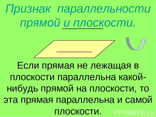 Признак параллельности прямой и плоскости. Если прямая не лежащая в плоскости параллельна какой-нибудь прямой на плоскости, то эта прямая параллельна и самой плоскости.