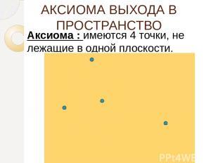 АКСИОМА ВЫХОДА В ПРОСТРАНСТВО Аксиома : имеются 4 точки, не лежащие в одной плос