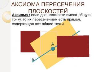 АКСИОМА ПЕРЕСЕЧЕНИЯ ПЛОСКОСТЕЙ Аксиома : если две плоскости имеют общую точку, т