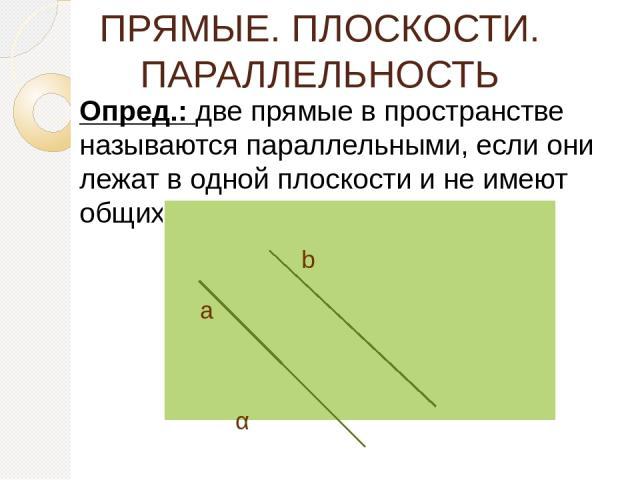ПРЯМЫЕ. ПЛОСКОСТИ. ПАРАЛЛЕЛЬНОСТЬ Опред.: две прямые в пространстве называются параллельными, если они лежат в одной плоскости и не имеют общих точек. α а b