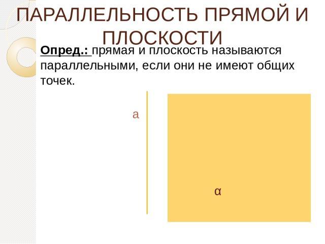 ПАРАЛЛЕЛЬНОСТЬ ПРЯМОЙ И ПЛОСКОСТИ Опред.: прямая и плоскость называются параллельными, если они не имеют общих точек. а α