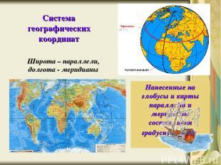Широта – параллели, долгота - меридианы Система географических координат Нанесен