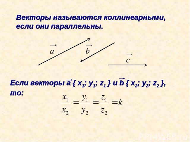 Векторы называются коллинеарными, если они параллельны. Если векторы а { x1; y1; z1 } и b { x2; y2; z2 }, то: