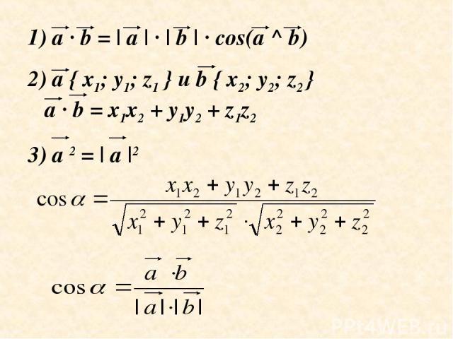 a · b = | a | · | b | · cos(a ^ b) 2) a { x1; y1; z1 } и b { x2; y2; z2 } a · b = x1x2 + y1y2 + z1z2 3) a 2 = | a |2