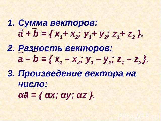 Сумма векторов: a + b = { x1+ x2; y1+ y2; z1+ z2 }. Разность векторов: a – b = { x1 – x2; y1 – y2; z1 – z2 }. Произведение вектора на число: αā = { αx; αy; αz }.