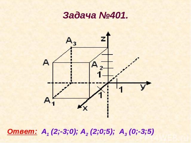 Задача №401. Ответ: А1 (2;-3;0); А2 (2;0;5); А3 (0;-3;5)