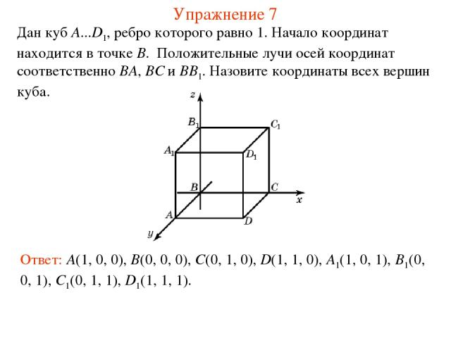 Упражнение 7 Дан куб A...D1, ребро которого равно 1. Начало координат находится в точке B. Положительные лучи осей координат соответственно BA, BC и BB1. Назовите координаты всех вершин куба. Ответ: A(1, 0, 0), B(0, 0, 0), C(0, 1, 0), D(1, 1, 0), A1…