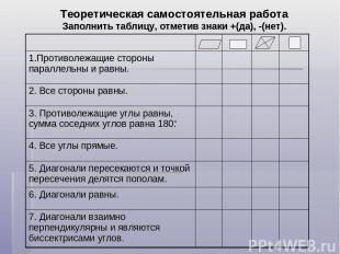 Теоретическая самостоятельная работа Заполнить таблицу, отметив знаки +(да), -(н