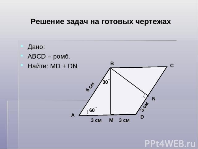 Решение задач на готовых чертежах Дано: АВСD – ромб. Найти: MD + DN. D C B A N М 6 см 60 30 3 см 3 см 3 см