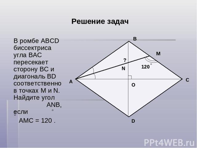 Решение задач В ромбе ABCD биссектриса угла ВAC пересекает сторону ВС и диагональ BD соответственно в точках М и N. Найдите угол АNВ, если АМС = 120 . B О A C D N М 120 ?