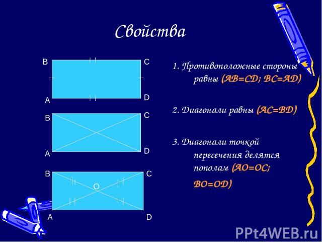 Свойства 1. Противоположные стороны равны (AB=CD; BC=AD) 2. Диагонали равны (AC=BD) 3. Диагонали точкой пересечения делятся пополам (AO=OC; BO=OD) A B C D O A B C D A B C D