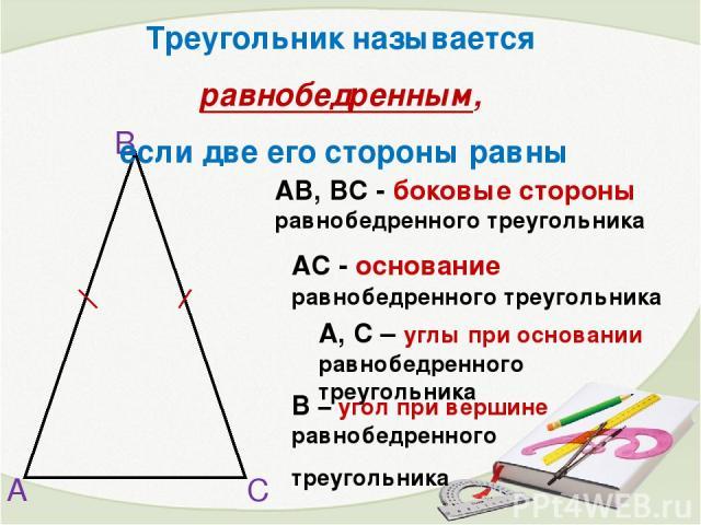 А В С АВ, ВС - боковые стороны равнобедренного треугольника А, С – углы при основании равнобедренного треугольника АС - основание равнобедренного треугольника В – угол при вершине равнобедренного треугольника Треугольник называется равнобедренным, е…