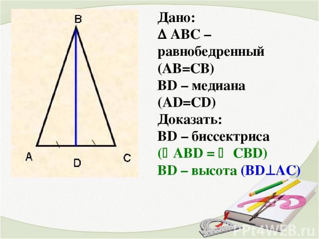 Дано: АВС – равнобедренный (АВ=СВ) ВD – медиана (AD=СD) Доказать: ВD – биссектриса ( AВD = CBD) ВD – высота (ВD AС)