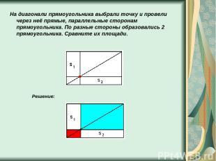 На диагонали прямоугольника выбрали точку и провели через неё прямые, параллельн
