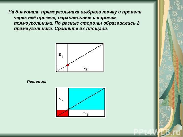 На диагонали прямоугольника выбрали точку и провели через неё прямые, параллельные сторонам прямоугольника. По разные стороны образовались 2 прямоугольника. Сравните их площади. Решение: