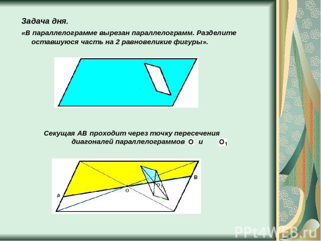 Задача дня. «В параллелограмме вырезан параллелограмм. Разделите оставшуюся часть на 2 равновеликие фигуры». Секущая AB проходит через точку пересечения диагоналей параллелограммов и .