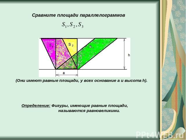 Сравните площади параллелограммов (Они имеют равные площади, у всех основание a и высота h). Определение: Фигуры, имеющие равные площади, называются равновеликими.