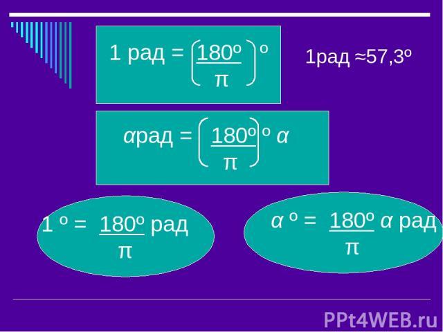 1рад ≈57,3º α º = 180º α рад π π 1 º = 180º рад π αрад = 180º º α π 1 рад = 180º º π