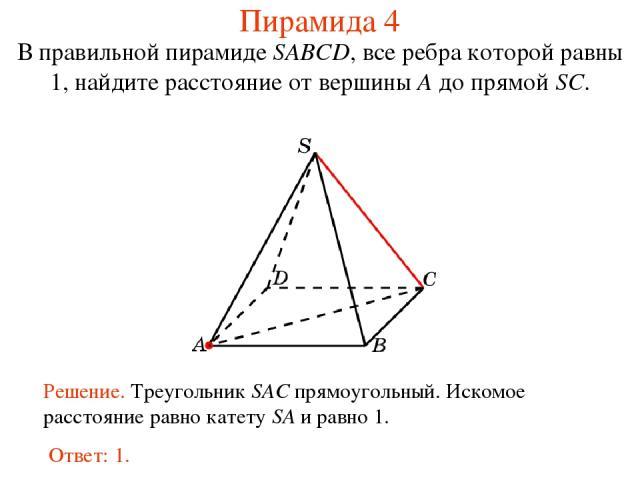 В правильной пирамиде SABCD, все ребра которой равны 1, найдите расстояние от вершины A до прямой SC. Пирамида 4