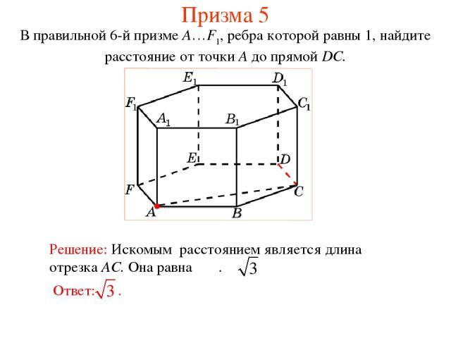 В правильной 6-й призме A…F1, ребра которой равны 1, найдите расстояние от точки A до прямой DC. Призма 5