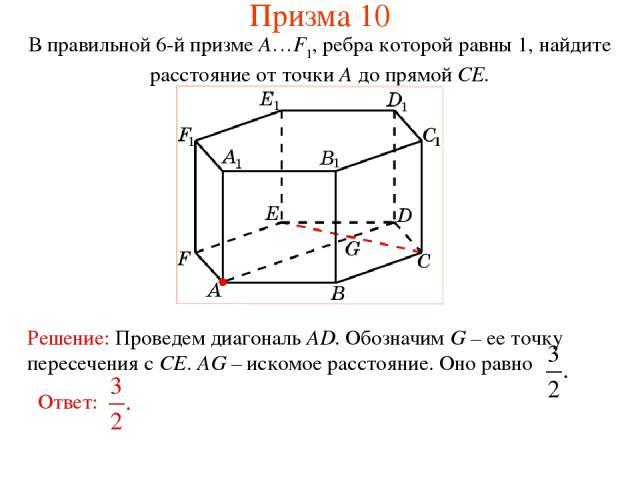 В правильной 6-й призме A…F1, ребра которой равны 1, найдите расстояние от точки A до прямой CE. Призма 10