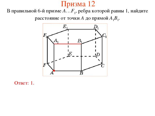 В правильной 6-й призме A…F1, ребра которой равны 1, найдите расстояние от точки A до прямой A1B1. Ответ: 1. Призма 12