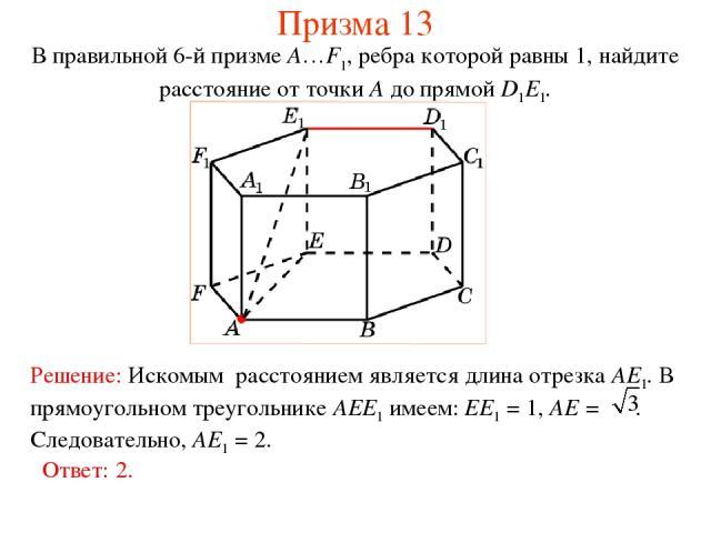 В правильной 6-й призме A…F1, ребра которой равны 1, найдите расстояние от точки A до прямой D1E1. Призма 13