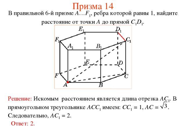 В правильной 6-й призме A…F1, ребра которой равны 1, найдите расстояние от точки A до прямой C1D1. Призма 14