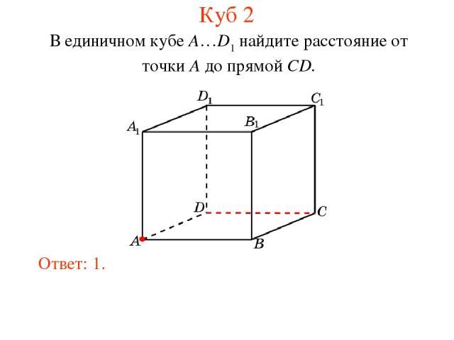 В единичном кубе A…D1 найдите расстояние от точки A до прямой CD. Ответ: 1. Куб 2
