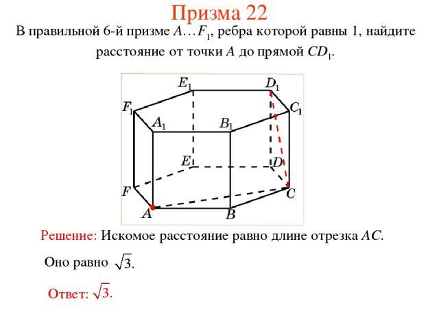 В правильной 6-й призме A…F1, ребра которой равны 1, найдите расстояние от точки A до прямой CD1. Призма 22
