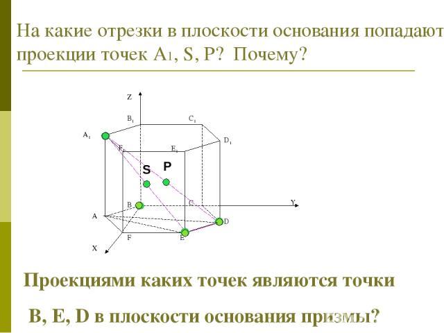 На какие отрезки в плоскости основания попадают проекции точек А1, S, Р? Почему? Проекциями каких точек являются точки B, E, D в плоскости основания призмы?