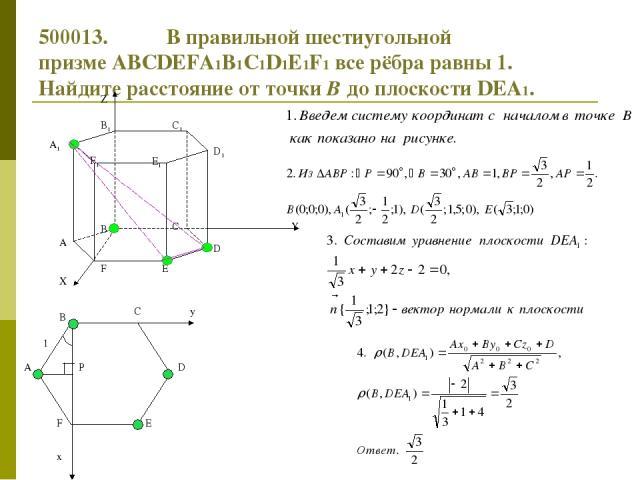 500013. В правильной шестиугольной призмеABCDEFA1B1C1D1E1F1все рёбра равны 1. Найдите расстояние от точкиВдо плоскостиDEA1. y x