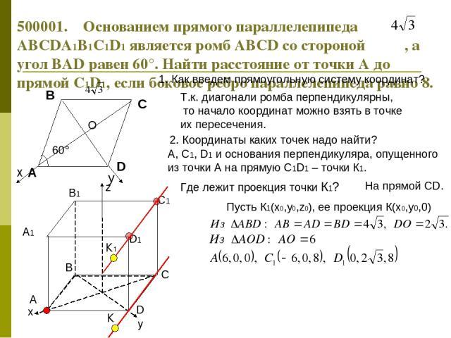 60° 500001. Основанием прямого параллелепипеда ABCDA1B1C1D1 является ромб ABCD со стороной , а угол BAD равен 60°. Найти расстояние от точки А до прямой С1D1, если боковое ребро параллелепипеда равно 8. 1. Как введем прямоугольную систему координат?…