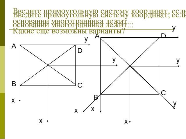 Введите прямоугольную систему координат, если в основании многогранника лежит... Введите прямоугольную систему координат, если в основании многогранника лежит... Какие еще возможны варианты?