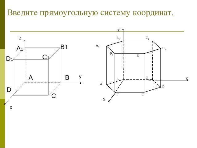 Введите прямоугольную систему координат.