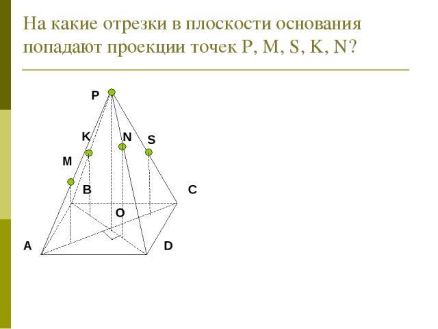 На какие отрезки в плоскости основания попадают проекции точек Р, М, S, K, N? N K S
